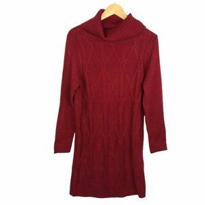 Cozy Casual Cable Knit Cowl Neck Sweater Dress Long Sleeves Dark Red Size M/L